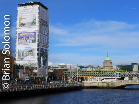 Irish Rail's DART passing Liberty Hall on Easter Sunday, 27 March 2016.