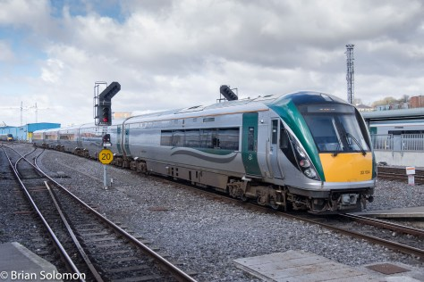 Irish Rail ICR viewed from platform 1 at Heuston Station on 31 March 2016.