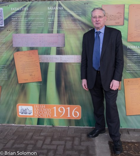 Irish Railway Record Society's Peter Rigney at 11:30am on Thursday, 31 March 2016. Platform 1, Heuston Station, Dublin.