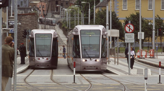 LUAS before the safety yellow bands.