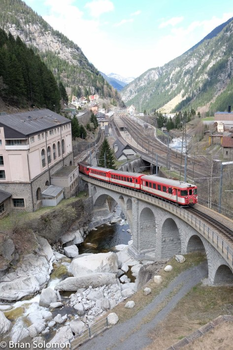 Camera produced Jpg exposed at Göschenen, Switzerland where the MGB meets the standard gauge line over the Gotthard Pass.