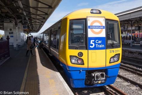 Five car Overland trains now serve Clapham Junction.