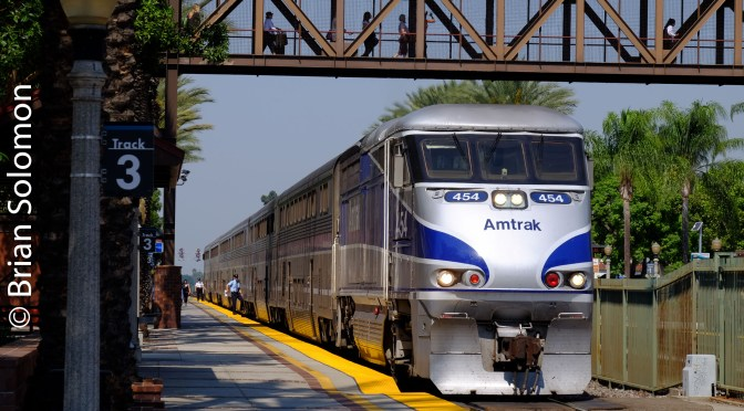 Amtrak 768 at Fullerton—Two Perspectives.