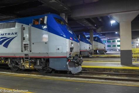 Amtrak trains at Chicago Union Station.