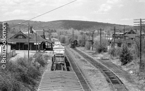 Conrail SEPW (Selkirk to Providence & Worcester at Worcester, Massachusetts) makes a drop at Palmer, Massachusetts on Ma7 6, 1984.