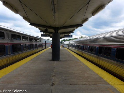 New York (left) and Boston (right) sections of the Lake Shore Limited. I made the cross platform transfer at Albany-Rensselaer, New York. Lumix LX-7 photo.