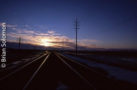 Sunset on BNSF near Mendota, Illinois, February 2008.