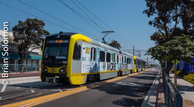 Metro Rail Expo Line; Light Rail under Sunny Skies—Los Angeles, August 2016.