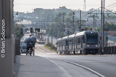 Looking east toward Atlantic. Gold Line's Pico/Aliso stop can be seen in the distance. (Not to be confused with Pico on the Blue Line/Expo Line that is located southwest of downtown. Just in case you were confused).