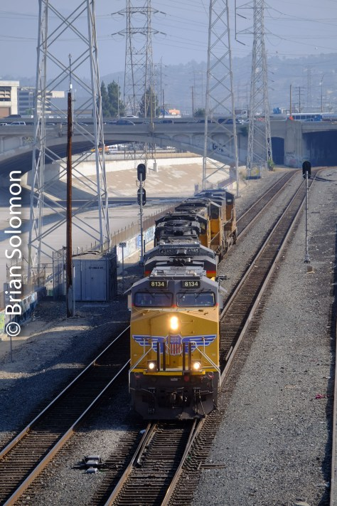 Union Pacific light engines on the east bank of the LA River.