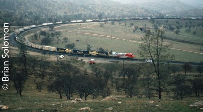 Santa Fe FP45 at Tehachapi Loop; Then and Now Comparison.
