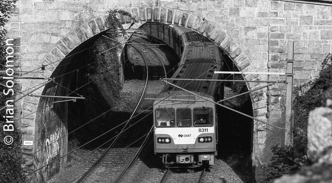Curves and Catenary; Dublin's DART at Dalkey.