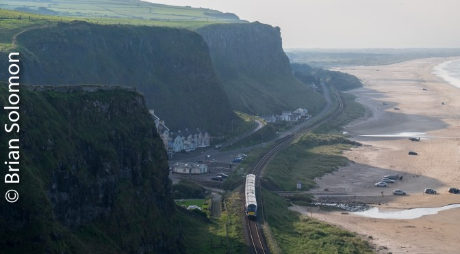Downhill, Co. Derry, Northern Ireland—Shafts of Light with some Ocean Side Cliffs (and a wee NIR railcar down below).