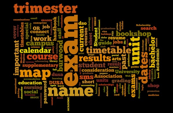 Tag cloud of search terms