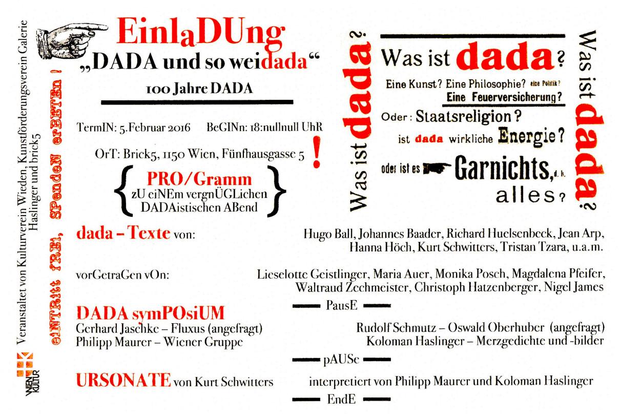 """""""DADA und so weidada"""" - 100 Jahre DADA"""