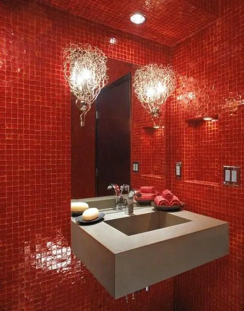 salle de bain rouge chic1 Choisir la couleur de la salle de bain   21 Idées de couleurs