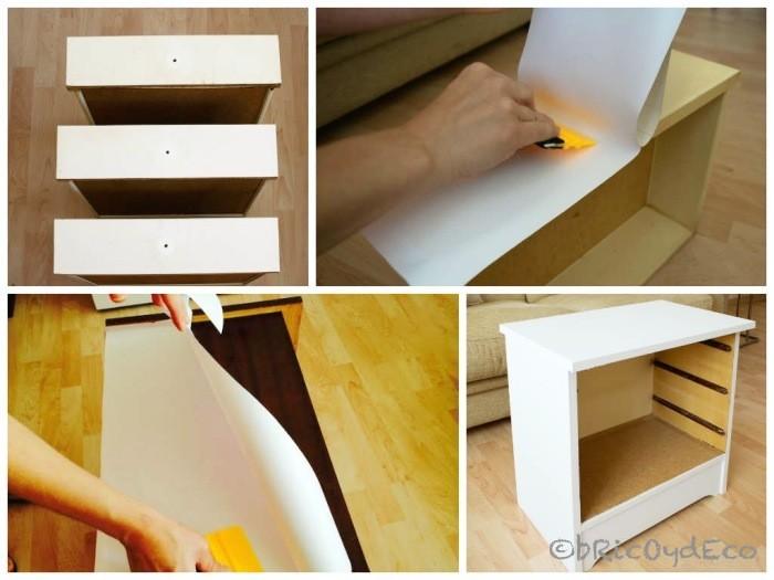Forrar muebles con vinilo antes y despu s de una mesita - Vinilo para mueble ...
