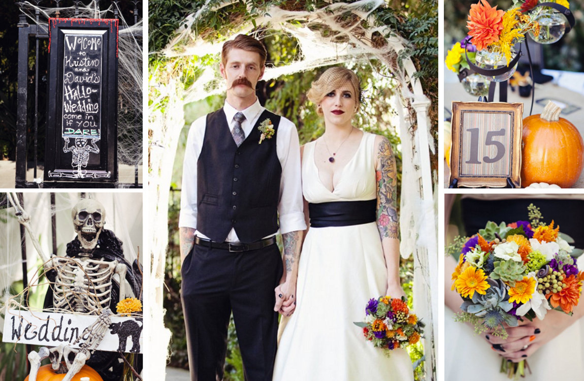 halloween wedding ideas halloween wedding dresses Reminiscent of a haunted house Erin and Eric s handcrafted Halloween wedding featured various stages and setups to build anticipation as the evening