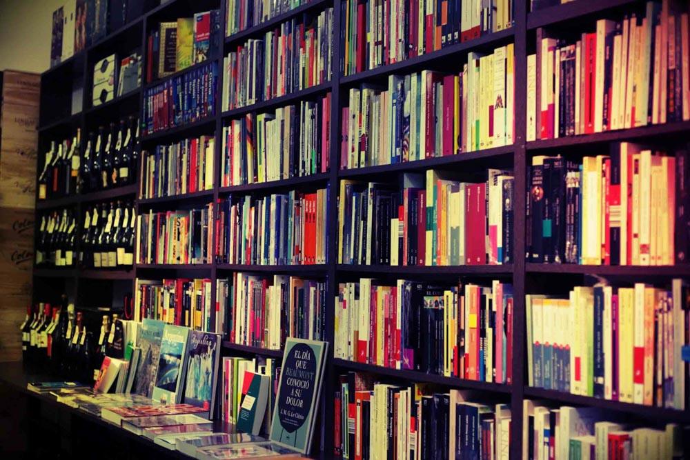 Books and wine at Abulafia bookshop, Buenos Aires