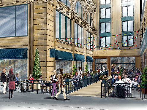 An artist rendering of what the new courtyard will look like when the Verizon section is removed from the PacMutual Building along 6th Street (Photo: Rising Realty Partner)