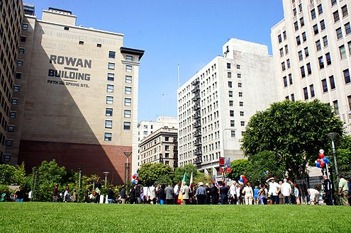 The downtown community gathers for the grand opening of Spring Street Park