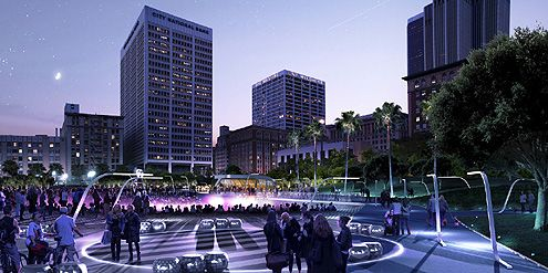A night time rendering of Pershing Square facing south (Photo: Gensler / Nephew)