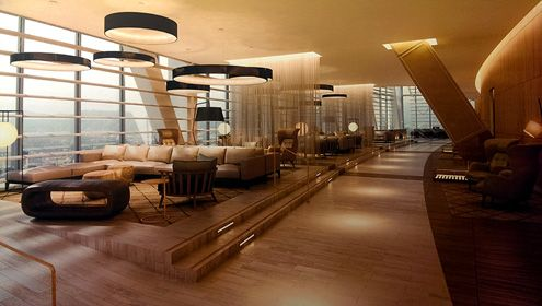 Lounge area for hotel guests in the sky lobby (click to enlarge)