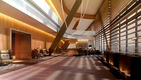 A view of the sky lobby on the 70th floor where hotel guests will check-in