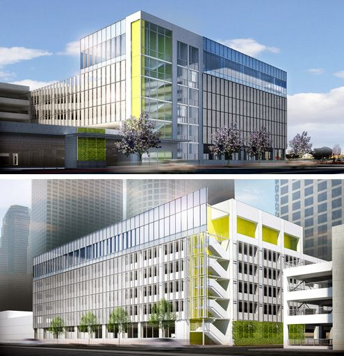 A new parking structure designed by Downtown LA-based architect firm LeanArch has broken ground across the street from the Metropolis site in South Park, Downtown LA (Photo: LeanArch)
