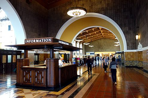 The beautiful wooden information stand has been refurbished and now proudly greets those who enter the main entrance of Union Station from Alameda