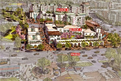 A new mixed-use project being spearheaded by the LA Plaza foundation in El Pueblo is being planned for two parking lots just west of Olvera Street with a pedestrian paseo as the highlight of the project (Photo: LA Plaza de Cultura y Artes)