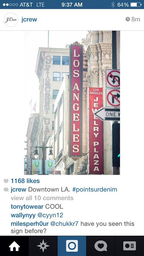 J. Crew Instagram announces this morning that they are planning to open in Downtown LA, and likely on Broadway as the picture entails (Photo: Joshua Levi)