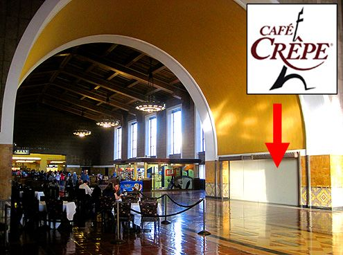 Cafe Crepe opening later this year will replace the long shuttered Union Bagel space inside Union Station in Downtown LA