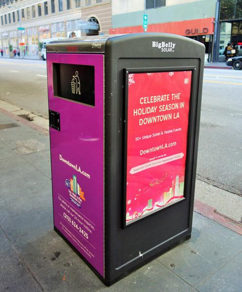 """In an effort to curb littering, 18 new BigBelly Solar """"smart"""" trash bins installed with GPS monitoring were installed by the DCBID along 7th Street in Downtown LA"""