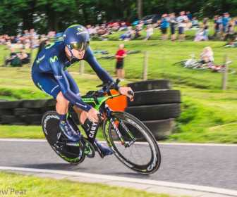 Alex Dowsett (Movistar) rides to victory in the British Cycling Time Trial Championships at Cadwell Park near Lincoln, United Kingdom on 25 June 2015. The former World Hour Record holder defeated Edmund Bradbury (NFTO) and Ryan Perry (SportGrub Kuota) on his way to the gold medal.