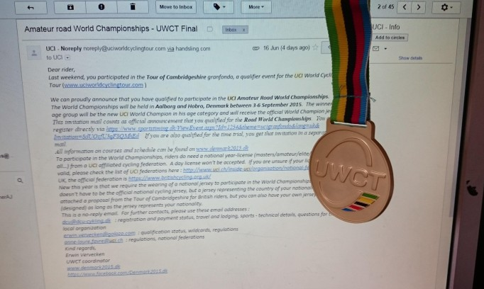 A shiny UCI medal and an email inviting you to to the World Champs, not often I get that after a race