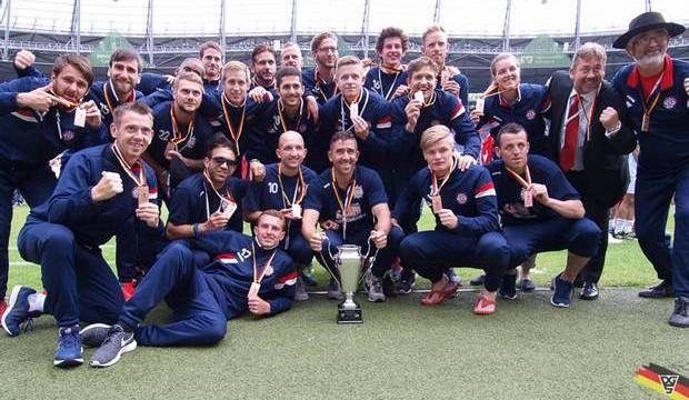GB Deaf Men team after receiving their bronze medals