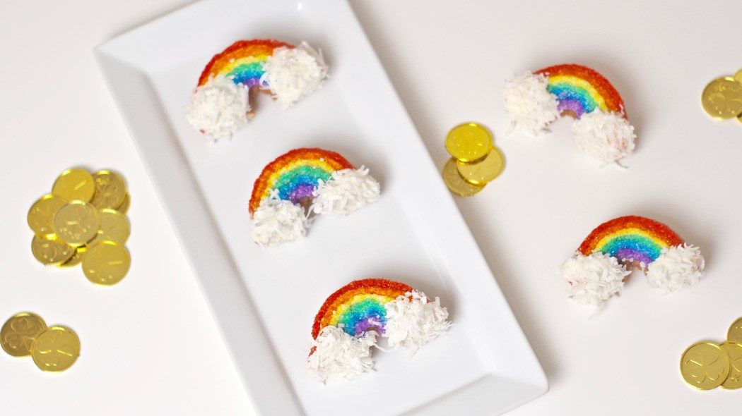 Rainbow Donuts sprinkle doughnuts gold lucky charms st patricks day dessert coconut candy britney termale lifestyle blog dessert recipe