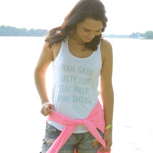 Mermaid List white tank pink