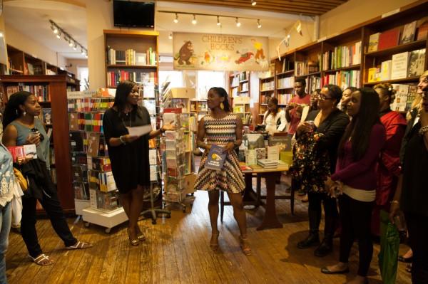 Valerie Brandes, founder of Jacaranda Books, gives a speech and congratulates Irenosen Okojie