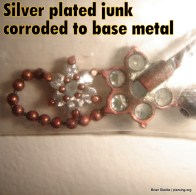 Corroded silver plated base metal