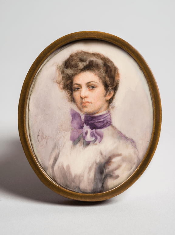 Eulabee Dix, Me, 1899; Watercolor on ivory, 2 1/2 x 2 1/8 in. oval; NMWA, Gift of Mrs. Philip Dix Becker and family