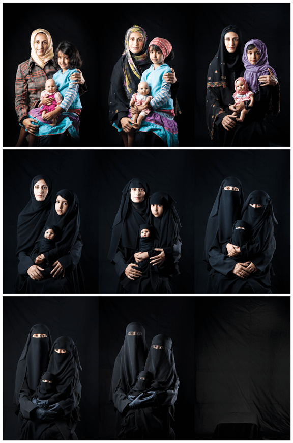 """Boushra Almutawakel, """"Mother, Daughter, Doll"""" series, 2010; Pigment prints, nine photographs, each 24 x 16 in.; Museum of Fine Arts, Boston, Museum purchase with funds donated by Richard and Lucille Spagnuolo, 2013.556–564; Photograph © 2015 MFA Boston"""