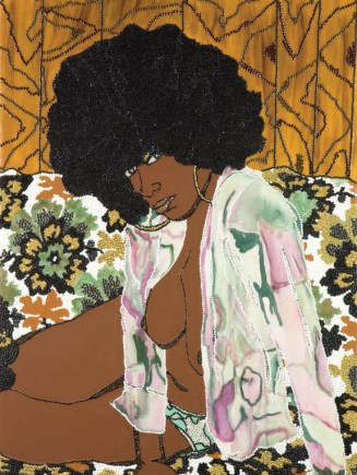 Mickalene Thomas, Whatever You Want, 2004; Acrylic, rhinestone, and enamel on panel, 48 x 36 in.