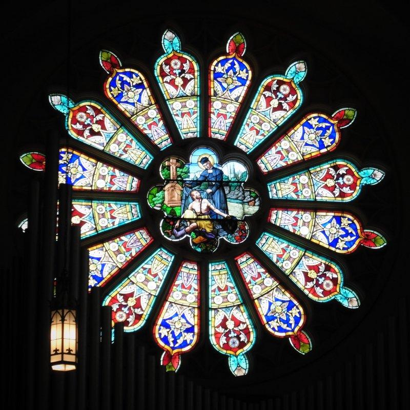 Rose window at Saint John Kanty Church