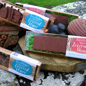 """Heart of Neolithic Orkney"" is the name of this pack of 2 Grooved Ware and 2 Ness of Brodgar Decorated Stone chocolate boxes."