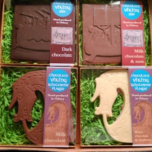 Earl Magnus the Holy chocolate set: Viking whalebone plaque heads in milk and white&raspberry, Viking Ships in dark and milk&nuts.