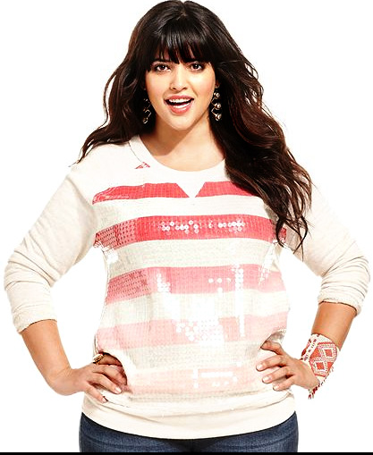 Plus Size Sequin Ombre Sweatshirt