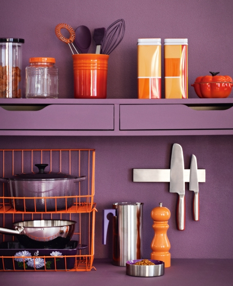 orange and purple kitchen