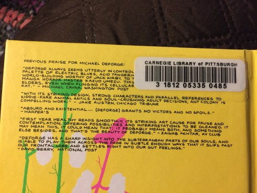 """""""Big Kids"""" by Michael DeForge back cover. This Interlibrary Loan request came from the Carnegie Library of Pittsburgh."""